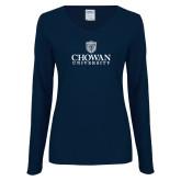 Ladies Navy Long Sleeve V Neck T Shirt-Primary Mark
