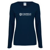 Ladies Navy Long Sleeve V Neck T Shirt-Horizontal Primary Mark