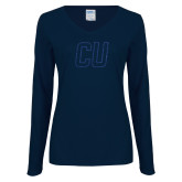 Ladies Navy Long Sleeve V Neck T Shirt-CU Glitter Dark Blue Glitter