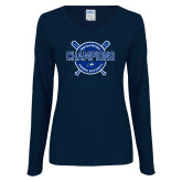 Ladies Navy Long Sleeve V Neck Tee-2018 Softball Champions