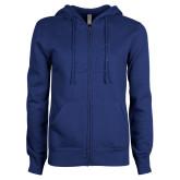 ENZA Ladies Royal Fleece Full Zip Hoodie-CU Glitter Dark Blue Glitter