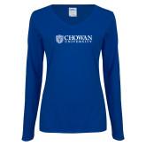 Ladies Royal Long Sleeve V Neck T Shirt-Horizontal Primary Mark