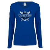 Ladies Royal Long Sleeve V Neck Tee-2018 Softball Champions