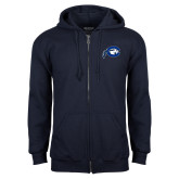 Navy Fleece Full Zip Hoodie-Mascot Logo