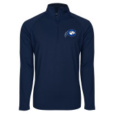 Sport Wick Stretch Navy 1/2 Zip Pullover-Mascot Logo