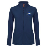 Ladies Fleece Full Zip Navy Jacket-Mascot Logo
