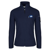 Columbia Ladies Full Zip Navy Fleece Jacket-Mascot Logo