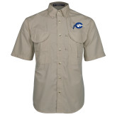 Khaki Short Sleeve Performance Fishing Shirt-Mascot Logo