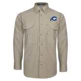 Khaki Long Sleeve Performance Fishing Shirt-Mascot Logo