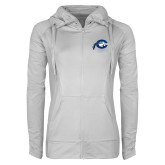 Ladies Sport Wick Stretch Full Zip White Jacket-Mascot Logo