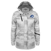Ladies White Brushstroke Print Insulated Jacket-Mascot Logo