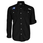 Columbia Bahama II Black Long Sleeve Shirt-Mascot Logo