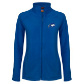 Ladies Fleece Full Zip Royal Jacket-Mascot Logo
