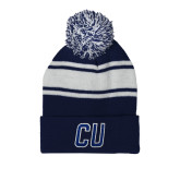 Navy/White Two Tone Knit Pom Beanie w/Cuff-CU Mark