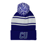 Royal/White Two Tone Knit Pom Beanie w/Cuff-CU Mark