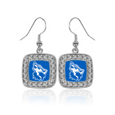 Crystal Studded Square Pendant Silver Dangle Earrings-Wolf Head