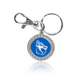 Crystal Studded Round Key Chain-Wolf Head