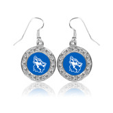 Crystal Studded Round Pendant Silver Dangle Earrings-Wolf Head