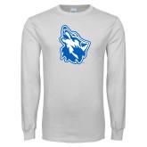 White Long Sleeve T Shirt-Wolf Head