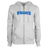 ENZA Ladies White Fleece Full Zip Hoodie-Wolves