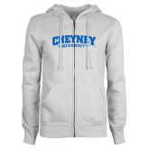 ENZA Ladies White Fleece Full Zip Hoodie-Cheyney University
