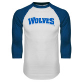 White/Royal Raglan Baseball T Shirt-Wolves