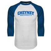 White/Royal Raglan Baseball T Shirt-Cheyney University
