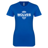 Next Level Ladies SoftStyle Junior Fitted Royal Tee-Sharp Net Basketball
