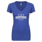 Next Level Ladies Vintage Royal Tri Blend V Neck Tee-Cheyney U White Soft Glitter