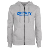 ENZA Ladies Grey Fleece Full Zip Hoodie-Cheyney University