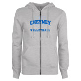 ENZA Ladies Grey Fleece Full Zip Hoodie-Volleyball