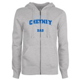 ENZA Ladies Grey Fleece Full Zip Hoodie-Dad
