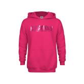 Youth Raspberry Fleece Hoodie-Cheyney University  Foil