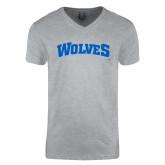 Next Level V Neck Heather Grey T Shirt-Wolves