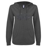 ENZA Ladies Dark Heather V Notch Raw Edge Fleece Hoodie-Cheyney U Graphite Soft Glitter