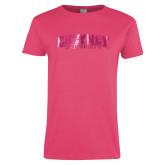 Ladies Fuchsia T Shirt-Cheyney University  Foil