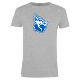 Ladies Grey T Shirt-Wolf Head