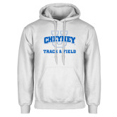 White Fleece Hoodie-Track and Field