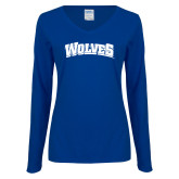 Ladies Royal Long Sleeve V Neck Tee-Wolves