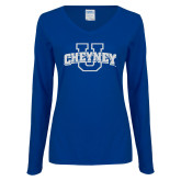 Ladies Royal Long Sleeve V Neck Tee-Cheyney U White Soft Glitter