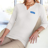 Ladies V Notch White 3/4 Sleeve Shirt-Primary Mark