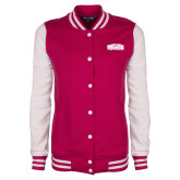 Ladies Pink Raspberry/White Fleece Letterman Jacket-Primary Mark
