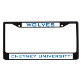 Metal License Plate Frame in Black-Wolves