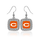 Crystal Studded Square Pendant Silver Dangle Earrings-C