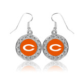 Crystal Studded Round Pendant Silver Dangle Earrings-C