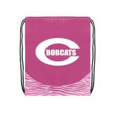 Nylon Zebra Pink/White Patterned Drawstring Backpack-C - Bobcats