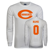White Long Sleeve T Shirt-C - Bobcats, Custom tee w/ name and #