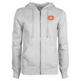 ENZA Ladies White Fleece Full Zip Hoodie-C - Bobcats