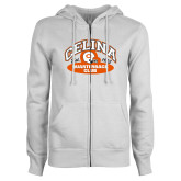 ENZA Ladies White Fleece Full Zip Hoodie-Celina Quarterback Club
