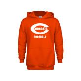 Youth Orange Fleece Hoodie-Football